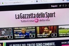 梁赞,俄罗斯- 2018年5月13日:个人计算机, URL - Gazzetta显示的Gazzetta网站  它 库存图片