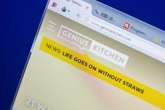 梁赞,俄罗斯- 2018年5月13日:个人计算机, URL - GeniusKitchen显示的GeniusKitchen网站  com 免版税库存照片