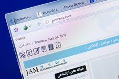 梁赞,俄罗斯- 2018年5月08日:个人计算机, URL - Jamnews显示的Jamnews网站  com 免版税库存照片