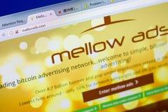 梁赞,俄罗斯- 2018年5月08日:个人计算机, URL - MellowAds显示的MellowAds网站  com 免版税库存照片