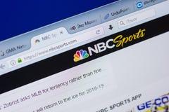 梁赞,俄罗斯- 2018年5月13日:个人计算机, URL - NBCSports显示的NBCSports网站  com 免版税库存图片