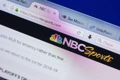 梁赞,俄罗斯- 2018年5月13日:个人计算机, URL - NBCSports显示的NBCSports网站  com 免版税图库摄影