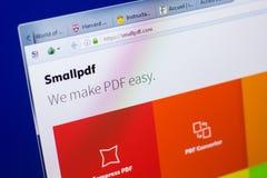 梁赞,俄罗斯- 2018年5月08日:个人计算机, URL - SmallPDF显示的SmallPDF网站  com 免版税库存照片