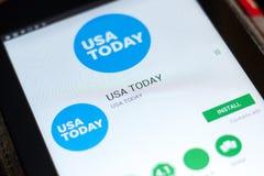 梁赞,俄罗斯- 2018年5月02日:今日美国报在片剂个人计算机显示的流动app  库存图片