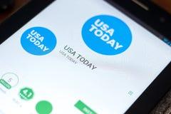 梁赞,俄罗斯- 2018年5月02日:今日美国报在片剂个人计算机显示的流动app  图库摄影