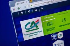 梁赞,俄罗斯- 2018年6月05日:信用Agricole网站主页个人计算机, URL -信用Agricole显示的  Fr 库存照片