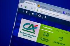 梁赞,俄罗斯- 2018年6月05日:信用Agricole网站主页个人计算机, URL -信用Agricole显示的  Fr 免版税库存图片