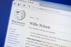 梁赞,俄罗斯- 2018年8月19日:关于威利纳尔逊的维基百科页个人计算机显示的  免版税库存照片