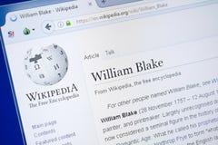 梁赞,俄罗斯- 2018年8月19日:关于威廉・布莱克的维基百科页个人计算机显示的  图库摄影