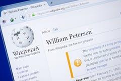 梁赞,俄罗斯- 2018年8月19日:关于威廉・彼德森的维基百科页个人计算机显示的  免版税库存照片