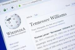 梁赞,俄罗斯- 2018年8月28日:关于田纳西・威廉斯的维基百科页个人计算机显示的  库存图片
