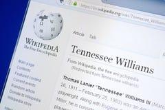 梁赞,俄罗斯- 2018年8月28日:关于田纳西・威廉斯的维基百科页个人计算机显示的  免版税库存照片