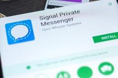 梁赞,俄罗斯- 2018年5月02日:发信号私有信使在片剂个人计算机显示的流动app  库存图片