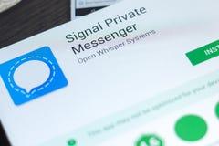 梁赞,俄罗斯- 2018年5月02日:发信号私有信使在片剂个人计算机显示的流动app  免版税库存照片