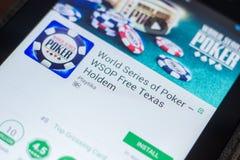 梁赞,俄罗斯- 2018年5月16日:啤牌在片剂个人计算机显示的流动app联赛  库存图片