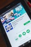 梁赞,俄罗斯- 2018年5月16日:啤牌在片剂个人计算机显示的流动app联赛  免版税库存照片