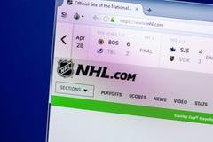 梁赞,俄罗斯- 2018年4月29日:国家冰上曲棍球联盟主页-个人计算机, URL显示的NHL网站- Nhl com 图库摄影