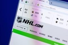 梁赞,俄罗斯- 2018年4月29日:国家冰上曲棍球联盟主页-个人计算机, URL显示的NHL网站- Nhl com 库存照片