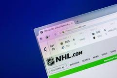 梁赞,俄罗斯- 2018年4月29日:国家冰上曲棍球联盟主页-个人计算机, URL显示的NHL网站- Nhl com 免版税图库摄影