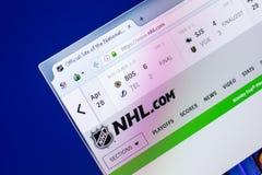 梁赞,俄罗斯- 2018年4月29日:国家冰上曲棍球联盟主页-个人计算机, URL显示的NHL网站- Nhl com 免版税库存照片
