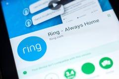 梁赞,俄罗斯- 2018年5月03日:圆环-总是在片剂个人计算机显示的家庭机动性app  免版税库存图片