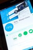 梁赞,俄罗斯- 2018年5月03日:圆环-总是在片剂个人计算机显示的家庭机动性app  库存照片