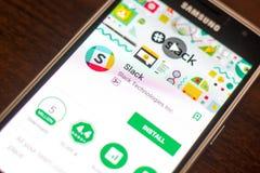 梁赞,俄罗斯- 2018年5月04日:在手机显示的自由散漫的机动性app  免版税库存图片