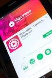 梁赞,俄罗斯- 2018年5月03日:在片剂个人计算机显示的比戈录影机动性app  免版税库存照片