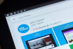 梁赞,俄罗斯- 2018年5月02日:在片剂个人计算机显示的流动apps名单的今日美国报象  免版税库存图片
