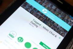 梁赞,俄罗斯- 2018年5月02日:在片剂个人计算机显示的被标记的流动app  库存图片