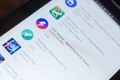 梁赞,俄罗斯- 2018年5月16日:快速的擦净剂app象或商标在流动apps名单 图库摄影