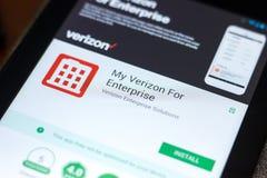 梁赞,俄罗斯- 2018年5月02日:我的企业的在片剂个人计算机显示的流动app韦里孙  免版税库存图片