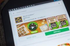 梁赞,俄罗斯- 2018年5月16日:措辞曲奇饼app象或商标在流动apps名单 图库摄影
