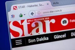 梁赞,俄罗斯- 2018年6月05日:星网站主页个人计算机, URL -星显示的  com Tr 库存图片