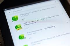 梁赞,俄罗斯- 2018年5月02日:是在片剂个人计算机显示的流动apps名单的键盘象  图库摄影