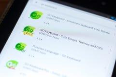 梁赞,俄罗斯- 2018年5月02日:是在片剂个人计算机显示的流动apps名单的键盘象  免版税库存照片