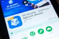 梁赞,俄罗斯- 2018年5月03日:是安全在片剂个人计算机显示的流动app  免版税库存照片