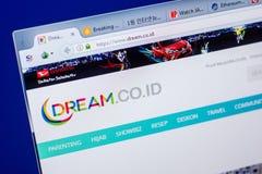 梁赞,俄罗斯- 2018年5月20日:梦想网站主页个人计算机, URL -梦想显示的  Co Id 免版税库存图片