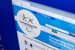 梁赞,俄罗斯- 2018年3月03日:残奥运动的正式网站 图库摄影