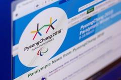 梁赞,俄罗斯- 2018年3月03日:残奥运动的正式网站 免版税库存图片