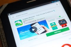 梁赞,俄罗斯- 2018年5月02日:海豚在片剂个人计算机显示的流动apps名单的浏览器象  免版税库存图片