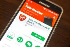 梁赞,俄罗斯- 2018年5月04日:电话列入黑名单在手机显示的流动app  免版税库存照片