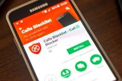 梁赞,俄罗斯- 2018年5月04日:电话列入黑名单在手机显示的流动app  免版税库存图片