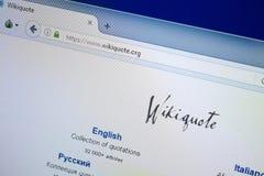 梁赞,俄罗斯- 2018年8月26日:维基个人计算机显示的行情网站主页  URL - WikiQuote org 免版税库存图片