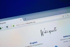 梁赞,俄罗斯- 2018年8月26日:维基个人计算机显示的行情网站主页  URL - WikiQuote org 免版税库存照片