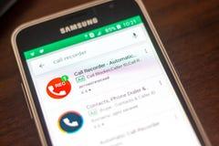 梁赞,俄罗斯- 2018年5月04日:自动呼叫在手机显示的流动apps名单的记录器象  免版税库存照片