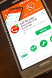 梁赞,俄罗斯- 2018年5月04日:自动呼叫记录器在手机显示的流动app  免版税库存图片