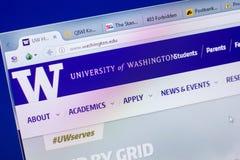 梁赞,俄罗斯- 2018年5月20日:西雅图华盛顿大学网站主页个人计算机, URL -华盛顿显示的  edu 免版税库存照片