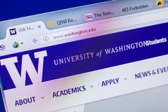 梁赞,俄罗斯- 2018年5月20日:西雅图华盛顿大学网站主页个人计算机, URL -华盛顿显示的  edu 图库摄影