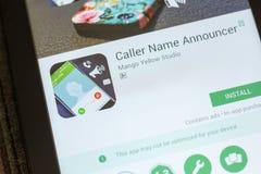 梁赞,俄罗斯- 2018年7月03日:访问者名字宣布者在片剂个人计算机显示的流动app  免版税库存照片